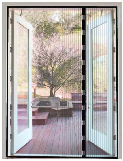 Magneetgordijn zwart (dubbele deur)